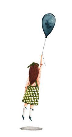 bye bye - by amy adele seymour Balloon Illustration, Illustration Story, Flying Balloon, Red Balloon, Beatrix Potter, Danielle Nicole Disney, Monster Costumes, Its A Girl Balloons, Mike Wazowski
