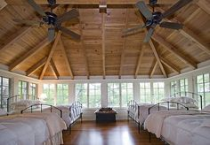 sleeping porch. I would paint the iron beds all different colors. Yum!