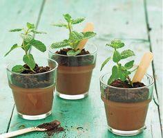 """Chocolademousse plantje. Groot succes! De mousse heb ik van een recept van AH (link) gemaakt. De losse """"aarde"""" is gemaakt van verkruimelde Oreokoekjes, het plantje is een takje munt. Oorspronkelijk van Culy.nl maar de link daarheen werkt niet meer helaas."""