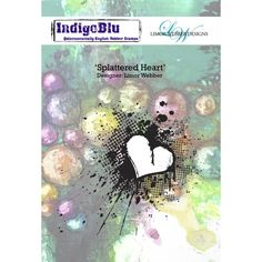 Indigoblu Splattered Heart - Limor Webber Signature Range - A6 Red Rubber Stamp
