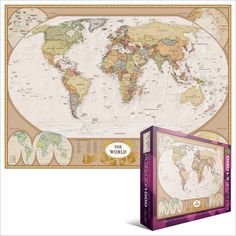 Portrait of the Earth  1000 piece jigsaw puzzle featuring a map