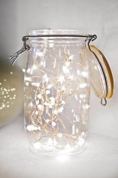 mason jars are great for everything-I really like this cute idea with the lights…