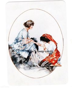 J1 GYPSY LADY swap playing cards MINT COND Art Deco style fortune teller palm reading by swap-cards-and-more - $3.00