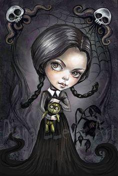 Gloomy Goth Girl 8.5 x 11 Art Print by DianaLevinArt on Etsy - Wednesday Addams