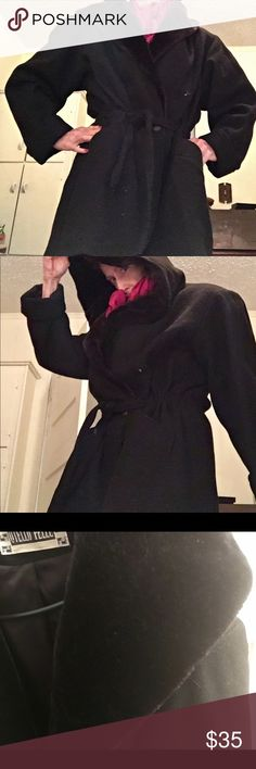 "Black wool 32"" self hooded coat 31"" self belted one button wool coat.  Collar has fur like appearance.  Turns into self hood. Size not on coat but fits 12/14 with sweater under. Probably XL otello pelle Jackets & Coats"