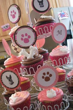 Pup themed cupcakes perfect for a dog birthday party!