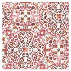 Florentine Pink Tile Wallpaper - Bright and bold, this wallpaper seamlessly melds modern style with vintage beauty. A Moroccan and Florentine-inspired pattern mixes oranges and pinks. The pearlescent white background has a faux crackle texture. Morrocan Patterns, Moroccan Tiles, Tile Patterns, Print Patterns, Pattern Art, Moroccan Print, Moroccan Lanterns, Moroccan Decor, Pattern Ideas
