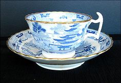 Spode Cup & Rathbone Saucer, Two Temples II, Broseley, Antique Early 19th C