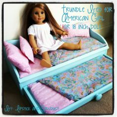 Doll Trundle Bed Knoff Off Decor: American girl trundle doll bed DIY. I think I'd make it from a thrift store jewelry box. Doll Trundle Bed Knoff Off Decor: American girl trundle doll bed DIY. I think I'd make it from a thrift store jewelry box. Muebles American Girl, Ropa American Girl, American Girl Doll Bed, American Girl Crafts, American Girl Stuff, American Girl Furniture, Girls Furniture, Doll Furniture, Furniture Plans
