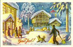 Julekort Harald Damsleth Utg Børrehaug og Remen brukt 1953 Christmas Cards, Christmas Postcards, Norway, Dahl, Painting, Scandinavian, Artists, Christmas E Cards, Xmas Cards
