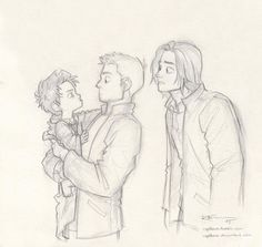 """I love de-aging people, so here's de-aged Cas. ^-^ And Dean and Sam. XD"""