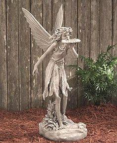 large fairy statue, fairy bird feeder statue, bird feeder fairy statues