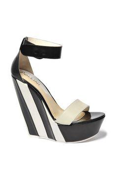 Pollini Black & White Striped Wedge Sandal Spring 2014 #Shoes #Wedges #Heels
