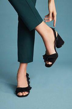 b0b329a830d Anthropologie Silent D Nomble Ruffled Heels Designer Heels