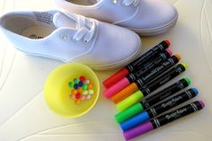 let kids get creative and decorate their own tennis shoes. How proud would they be to wear shoes they designed themselves!? Such a fun idea.