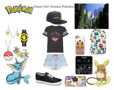 """Gamer Girl: Summer Pokémon"" by thecydneypetersen on Polyvore featuring JEM, Nintendo, Casetify, Loungefly, alola and Keds"