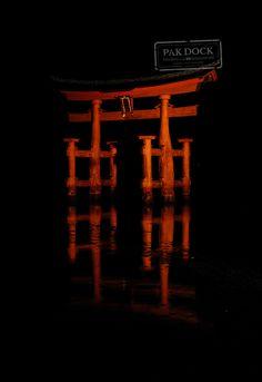 The Great Torii at Night Miyajima
