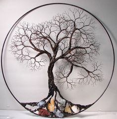Wire Tree Of Life Ancient sculpture with natural Calcites wall decor - tree decor, wall decor