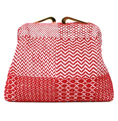Maria La Rosa Torre Red and White Woven Bag available at les pommettes los angeles