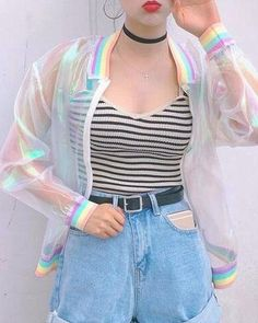 Rainbow See Through Jacket from INU INU. Saved to clothes. Shop more products from INU INU on Wanelo.