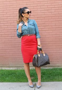 red pencil skirt outfit ideas - Google Search