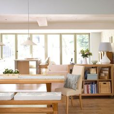 Sideboard living-dining room divider  from http://www.housetohome.co.uk/room-idea/picture/how-to-zone-out-an-open-plan-space/6#