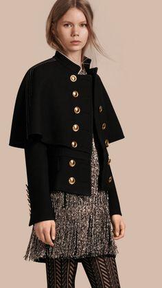 Negro Chaqueta estilo capa de inspiración militar en lana y seda - Imagen 1