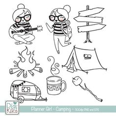 39 Ideas for craft paper invitation design Invitation Paper, Invitation Design, Camping Clipart, Camping Drawing, Kawaii Doodles, Printable Planner Stickers, Digital Stamps, Cute Illustration, Coloring Pages