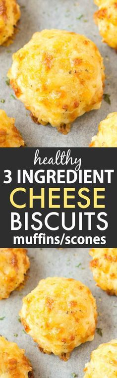 3 Ingredient Cheese Biscuits (with and options)- Easy, one-bowl THREE ingredient healthy cheese biscuits which are SUPER light, fluffy and ready in 20 minutes! Gf Recipes, Dairy Free Recipes, Vegan Gluten Free, Cooking Recipes, Healthy Recipes, Recipies, Cheese Recipes, Bread Recipes, Cheese Biscuits