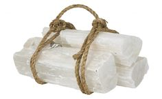 icy selenite fireplace logs. a stylish gift that will last a few millennia.