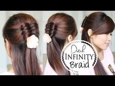 Dutch Infinity Braid How to Video Tutorial | Half Updo Hairstyle by Bebexo. Would look cute pulled back into a ponytail too.