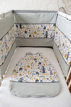 Tour de lit ouatiné 3 panneaux - Ensemble Eden : Linge de lit enfants par elise-atelier #eliseatelier