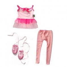 Pink Ballerina Doll Clothes Outfit Set for 18-Inch Play Doll. Includes Pink tulle ballet gown, pink tights, and lace up ballet slippers. Get it from Dollie & Me.