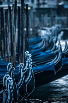 Gondolas lined up near St. Mark's Square. Italy - Venice, Venezia Veneto