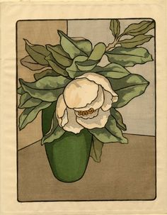 Andrew Kay Womrath (American, Vase with white flower and leaves… Illustrations, Illustration Art, Woodcut Art, Botanical Drawings, Art Graphique, Arts And Crafts Movement, Collage Art, Flower Art, Canvas Art