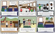 """Storyboard with the main scenes from """"Los Ojos de Carmen"""" by Veronica Moscoso. La madre de Daniel le quiere mandar Daniel a Ecuador para tomar fotos para"""