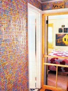 Amy Sedaris's apartment by Todd Oldham, candy wrapper wallpaper (hallway) Amy Sedaris, Apartment Furniture, Pink Walls, Reading Room, Dream Decor, Room Colors, Ideal Home, Living Spaces, Interior Design