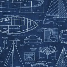 Sailboat blueprints make great beachy wall art design inspiration sail away boat blueprints fabric navy malvernweather Gallery