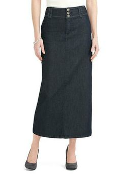 Cato Fashions Long Whipstitch Denim Skirt - Plus #CatoFashions