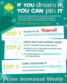 "**Update:  Sweepstakes has concluded**  Join Disney Living's ""If You Dream It, You Can Pin It"" sweepstakes! #DisneyWishList #sweepstakes #sweeps"