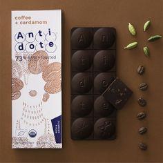 COFFEE + CARDAMOM  Ecuadorian arabica coffee and cardamom make a powerful blend. 2.3 oz bar, 73% organic cacao