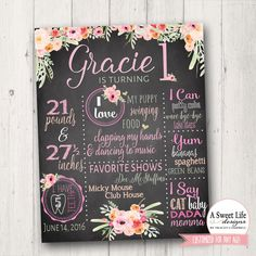 Boho Birthday Chalkboard Poster - Baby Girl Birthday - First Birthday - 1st birthday - Rustic Rose Quartz Farmhouse Floral by ASweetLifeDesigns on Etsy https://www.etsy.com/listing/386706872/boho-birthday-chalkboard-poster-baby