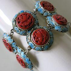 Vtg Chinese Export Silver Filigree Carved Cinnabar Bird Blue Enamel Bracelet