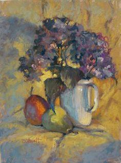"12x9 original pastel painting  ""Hydrangeas in White Vase"""