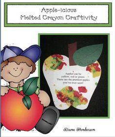 "Even though this craftivity is quick, easy & fun, it definitely has the ""Wow! ""Apples can be red, yellow and green. These are the prettiest apples I've ever seen. School Age Activities, Apple Activities, Alphabet Activities, Apple Games, Kindergarten Crafts, Preschool Crafts, Preschool Ideas, Melted Crayon Crafts, Art For Kids"