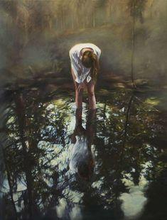 Pool II - Karin Broos , 2013 Acrylic on canvas 105 x 85 cm. Scandinavian Paintings, Scandinavian Art, Frank Dicksee, Janet Hill, Franz Kline, Andrew Wyeth, Edward Hopper, Painter Artist, Uppsala