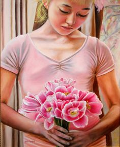 Wedding gift wedding oil painting flower by DelmusPhelpsArtworks