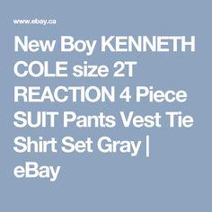 ad3a91c3db850e New Boy KENNETH COLE size 2T REACTION 4 Piece SUIT Pants Vest Tie Shirt Set  Gray
