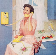 Such a splendidly iconic 1950s homemaker. Love everything about her look - and her charming kitchen. #vintage #1950s #fifties #ads #women #homemaker