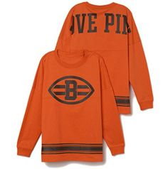 Victorias Secret PINK Cleveland Browns Varsity Crew Small Orange Long Sleeve ** Click image to review more details.